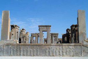 بقایای تخت جمشید در شیراز، ایران
