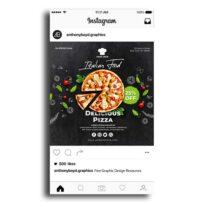 طرح لایه باز پست اینستاگرام با موضوع رستوران ایتالیایی