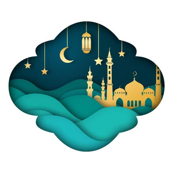 دانلود وکتور مسجد و فانوس و ماه برای ماه رمضان کد 2